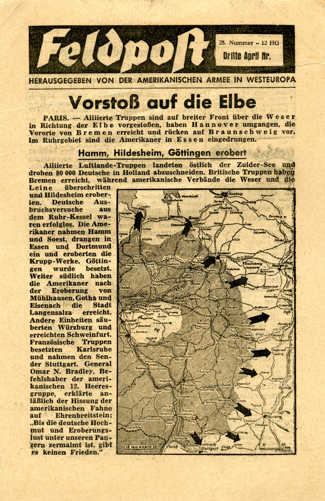 Random PSYOP leaflet - Field Post, Number 35, Third April Edition 1945