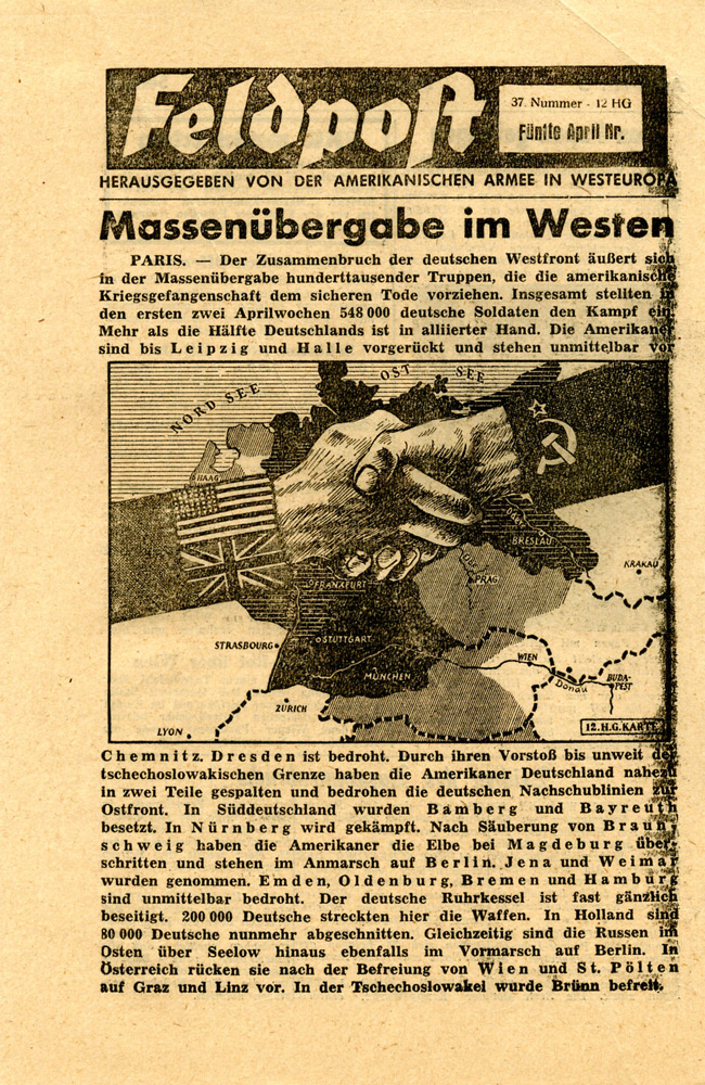 Random PSYOP leaflet - Field Post, Number 37, Fifth April Edition 1945 - Mass Surrender in the West