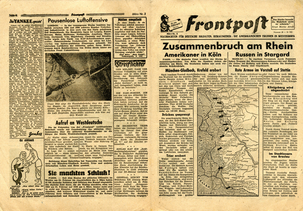 Random PSYOP leaflet - Frontpost, Number 50, March No. 2 - Collapse on the Rhine