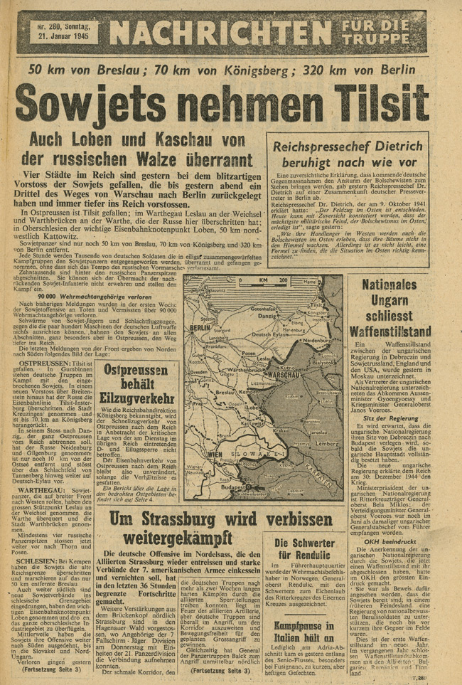 Random PSYOP leaflet - News for the Troops, No. 280, 21 January 1945