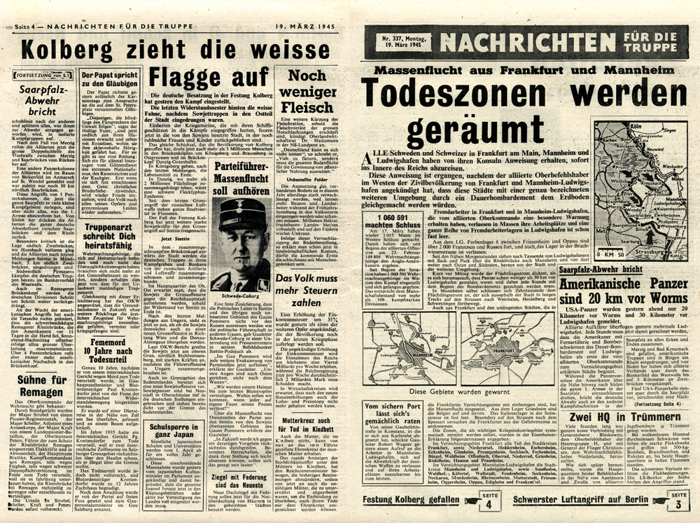 Random PSYOP leaflet - News for the Troops, No. 337, 19 March 1945