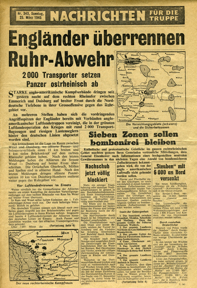 Random PSYOP leaflet - News for the Troops, No. 343, 25 March 1945