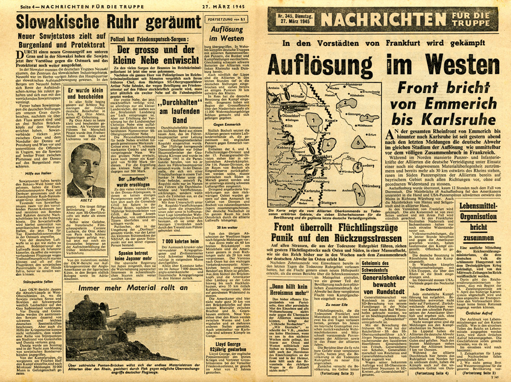 Random PSYOP leaflet - News for the Troops, No. 345, 27 March 1945