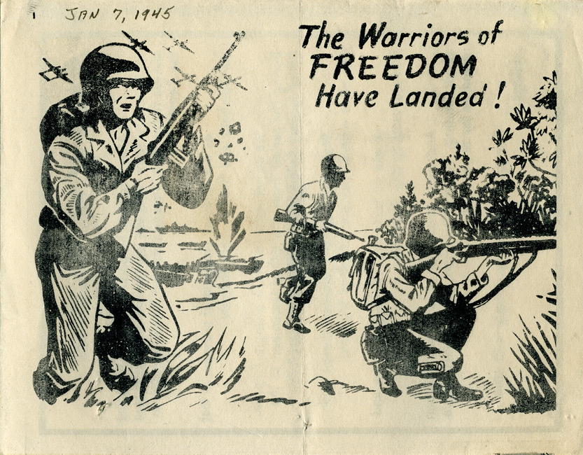 Random PSYOP leaflet - American and Philippine forces are liberating your country from Japanese oppression