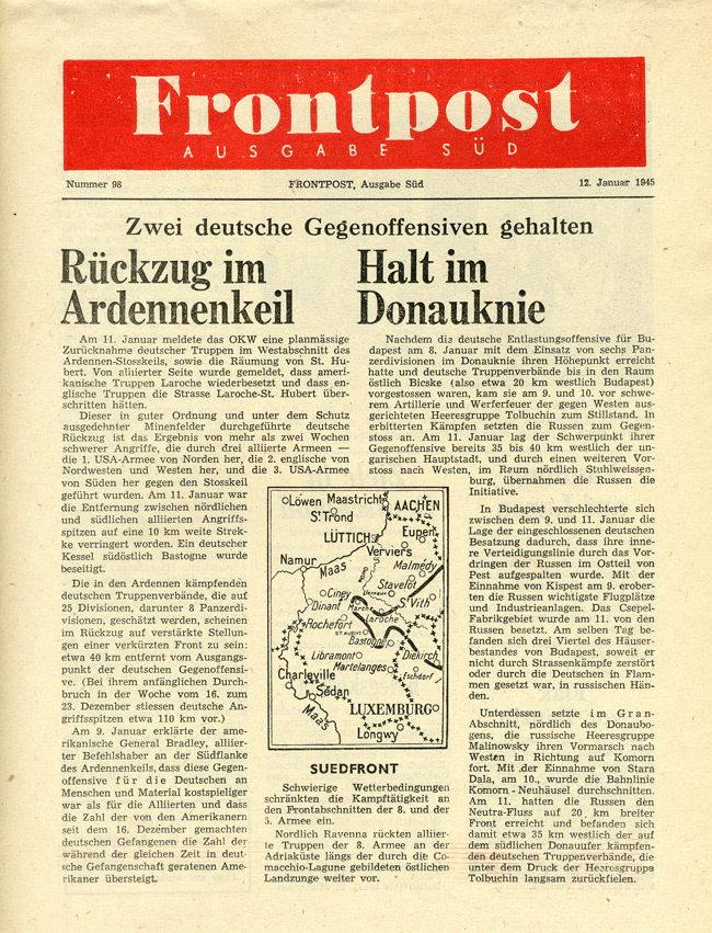 Random PSYOP leaflet - Frontpost SOUTH, No. 98, 12 January 1945