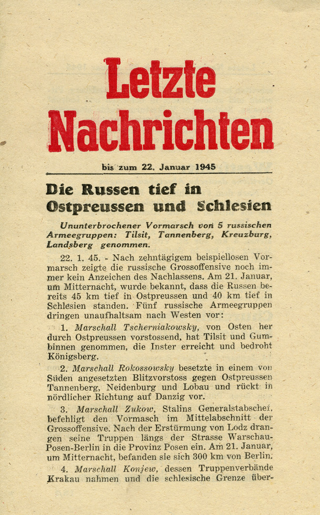 Random PSYOP leaflet - Latest News up to 22nd, January 1945 - Russians deep inside East Prussia and Silesia