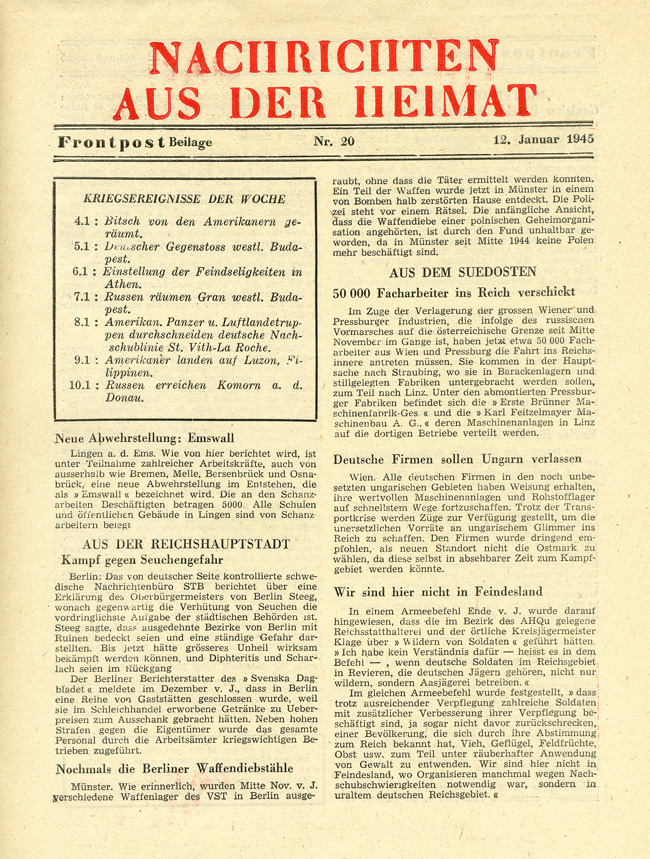 Random PSYOP leaflet - NEWS FROM THE HOME COUNTRY, No. 20, 12 January 1945