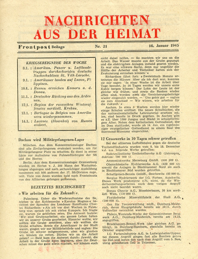 Random PSYOP leaflet - NEWS FROM THE HOME COUNTRY, No. 21, 16 January 1945