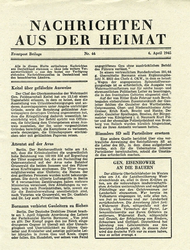 Random PSYOP leaflet - NEWS FROM THE HOME COUNTRY, No. 44, 6 April 1945