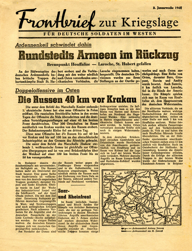Random PSYOP leaflet - Frontline News-Letter for German Soldiers in the West, 3rd week of January 1945