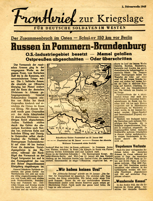 Random PSYOP leaflet - Frontline News-Letter for German Soldiers in the West, 1st week of February 1945 - Russians in Pomerania and Brandenburg