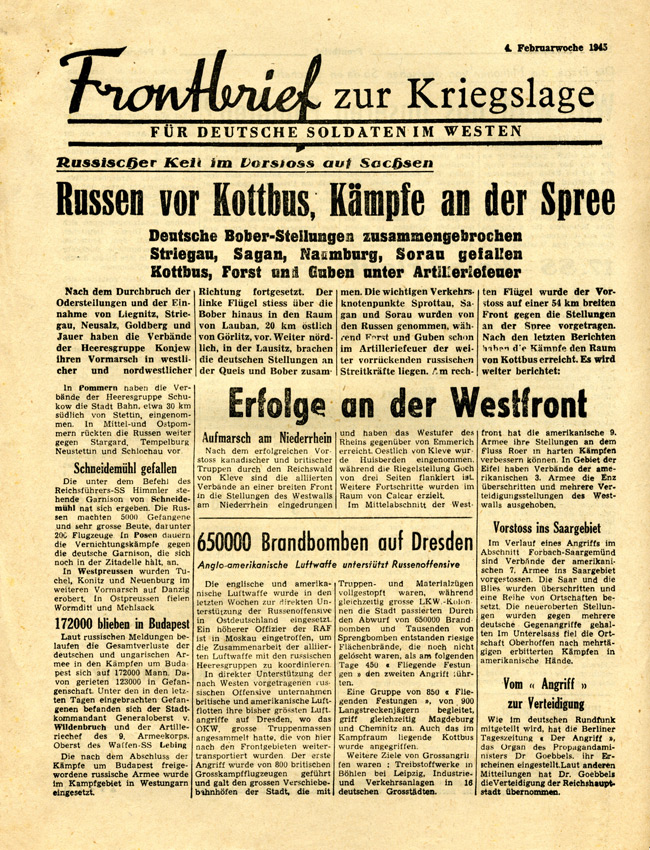 Random PSYOP leaflet - Frontline News-Letter for German Soldiers in the West, 4th week of February 1945