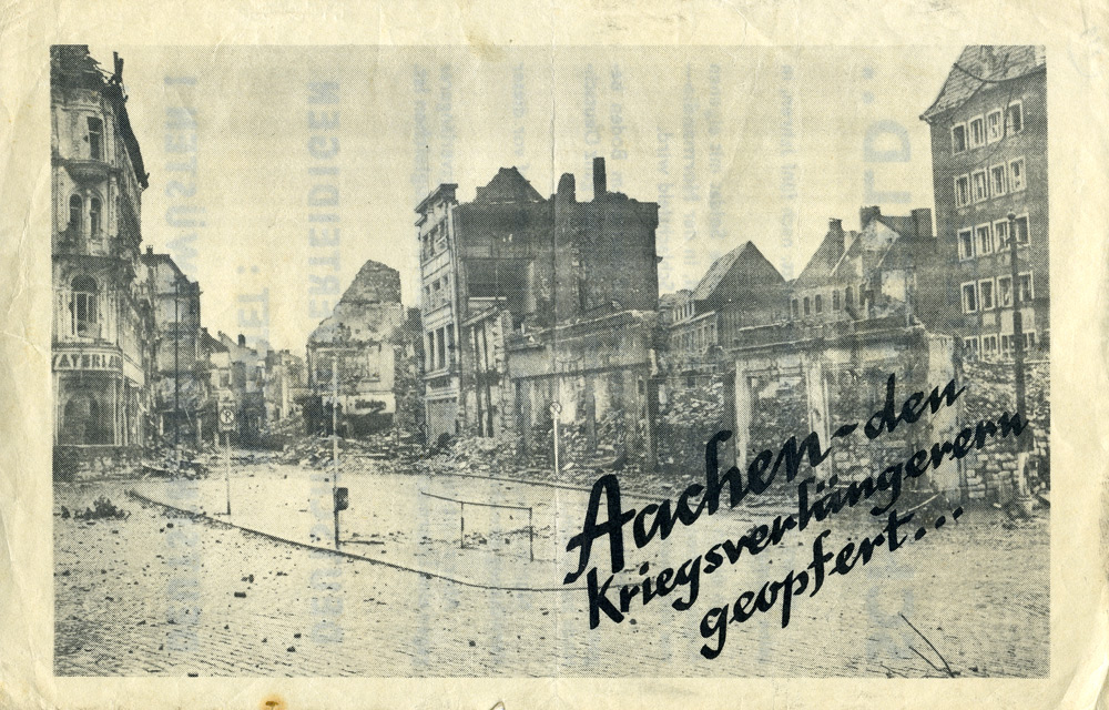 Random PSYOP leaflet - Aachen - sacrificed by those who would prolong war
