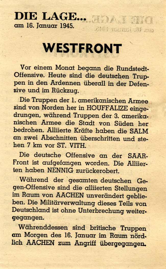 Random PSYOP leaflet - THE SITUATION… on 16th January 1945