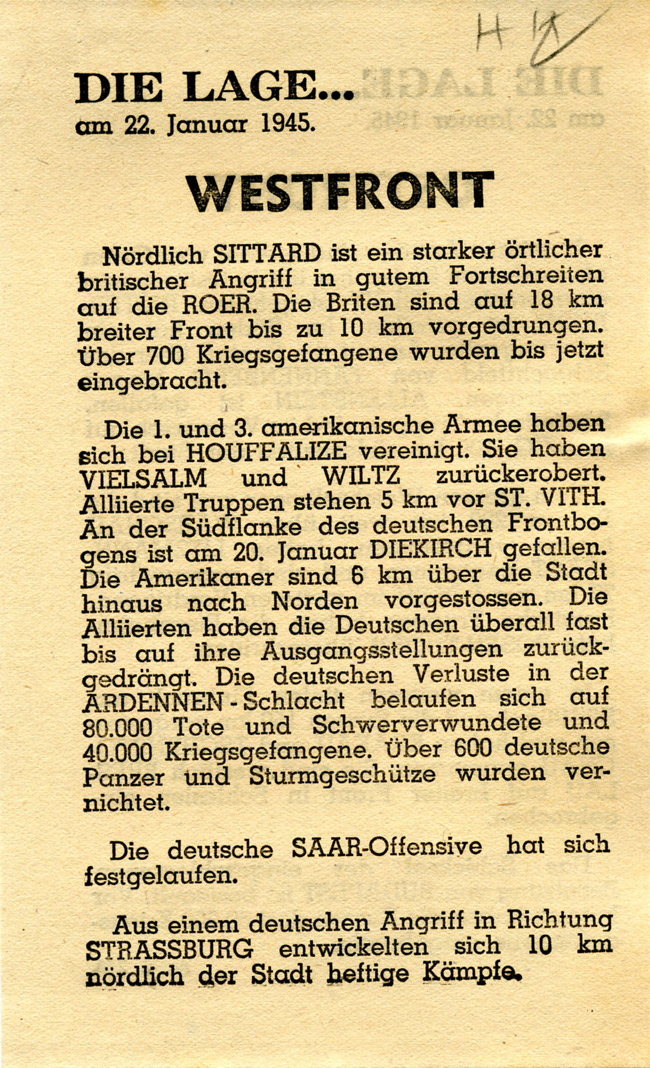 Random PSYOP leaflet - THE SITUATION… on 22nd January 1945