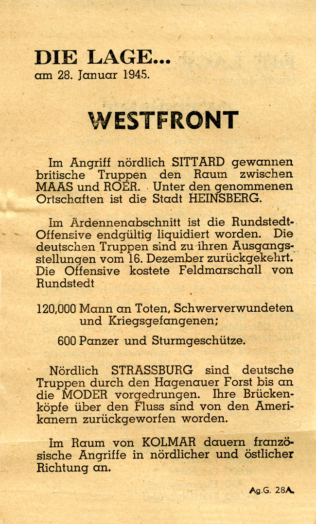 Random PSYOP leaflet - THE SITUATION… on 28th January 1945