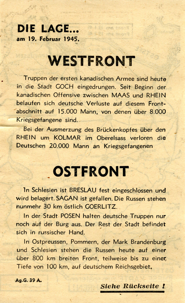 Random PSYOP leaflet - THE SITUATION... on 19 February 1945