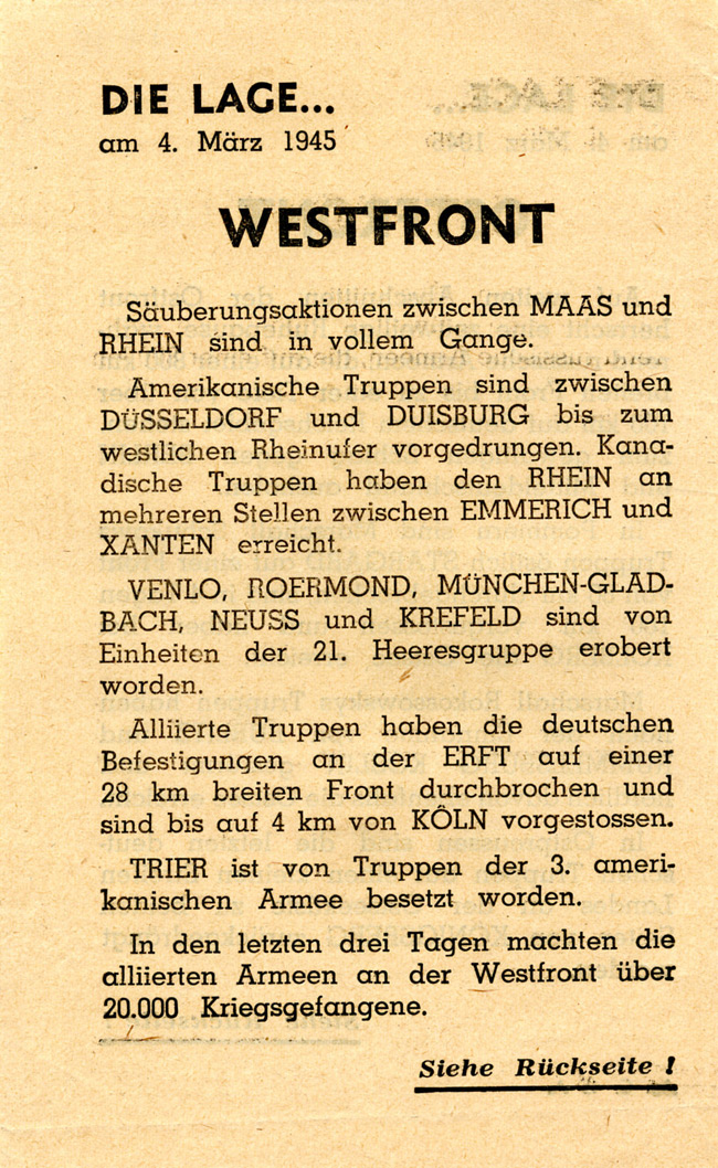 Random PSYOP leaflet - THE SITUATION… on 4th March 1945