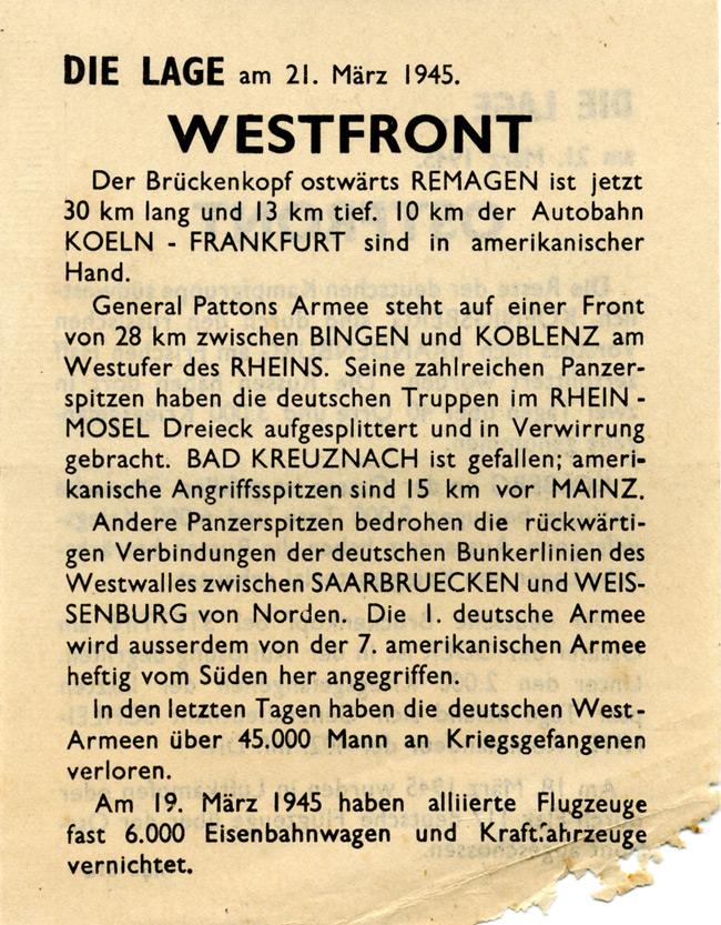 Random PSYOP leaflet - THE SITUATION on 21st March 1945