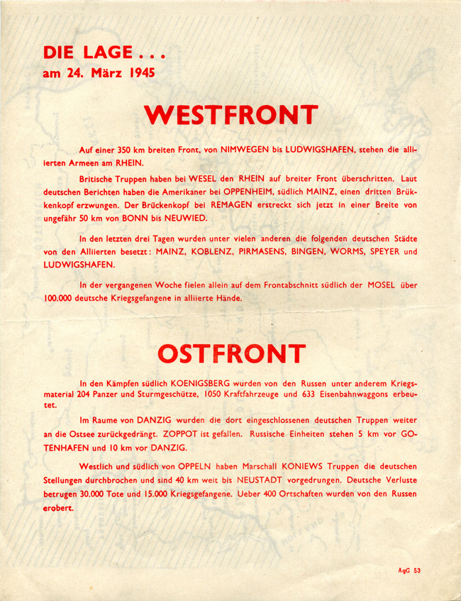 Random PSYOP leaflet - THE SITUATION… on 24th March 1945