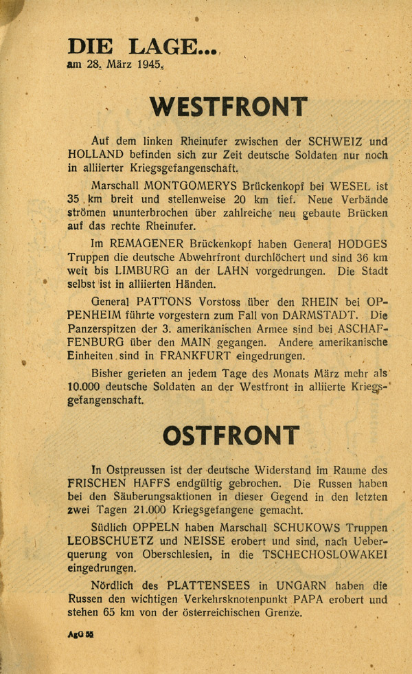Random PSYOP leaflet - THE SITUATION… on 28th March 1945