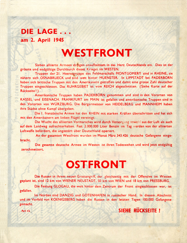 Random PSYOP leaflet - THE SITUATION... on 2nd April 1945