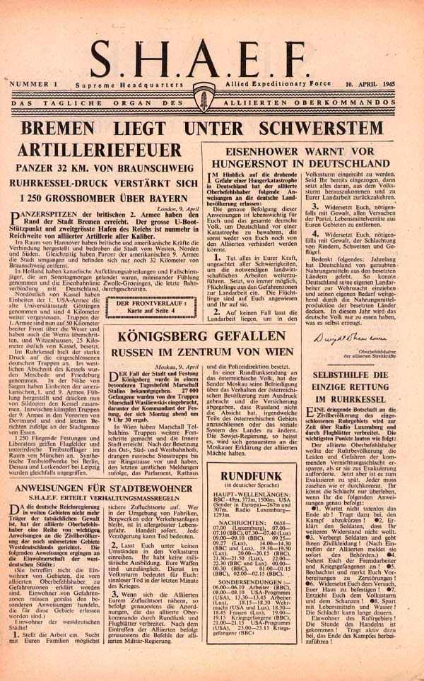 Random PSYOP leaflet - S.H.A.E.F. Newspaper, No. 1, 10 April 1945 - BREMEN SHELLED: HANOVER BY-PASSED