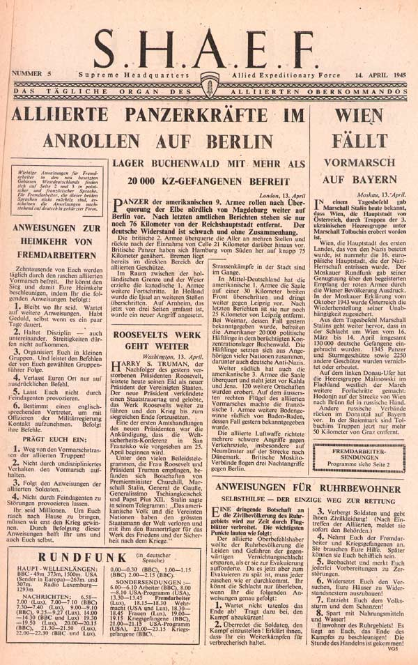 Random PSYOP leaflet - S.H.A.E.F. Newspaper, No. 5, 14 April 1945 - U.S. ARMOUR ROLLING TOWARD BERLIN