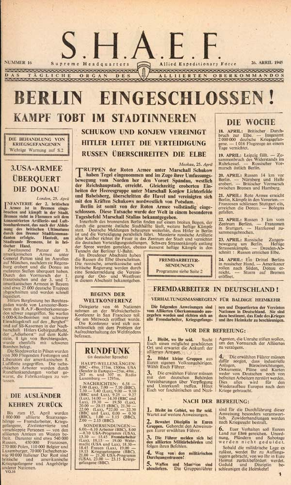 Random PSYOP leaflet - S.H.A.E.F. Newspaper, No. 16, 26 April 1945 - BERLIN IS SURROUNDED