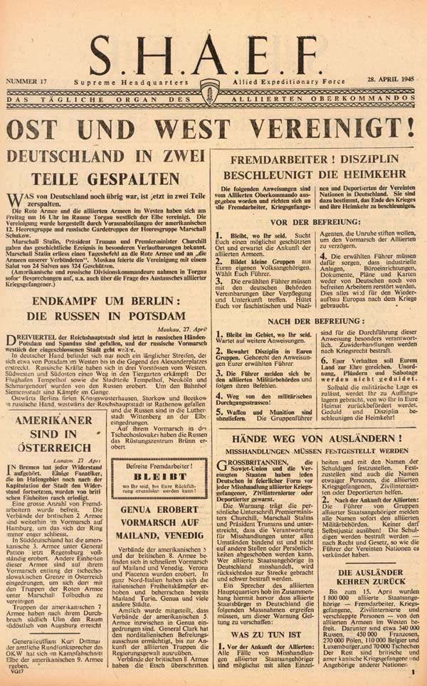 Random PSYOP leaflet - S.H.A.E.F. Newspaper, No. 17, 28 April 1945 - LINK-UP WITH RUSSIANS