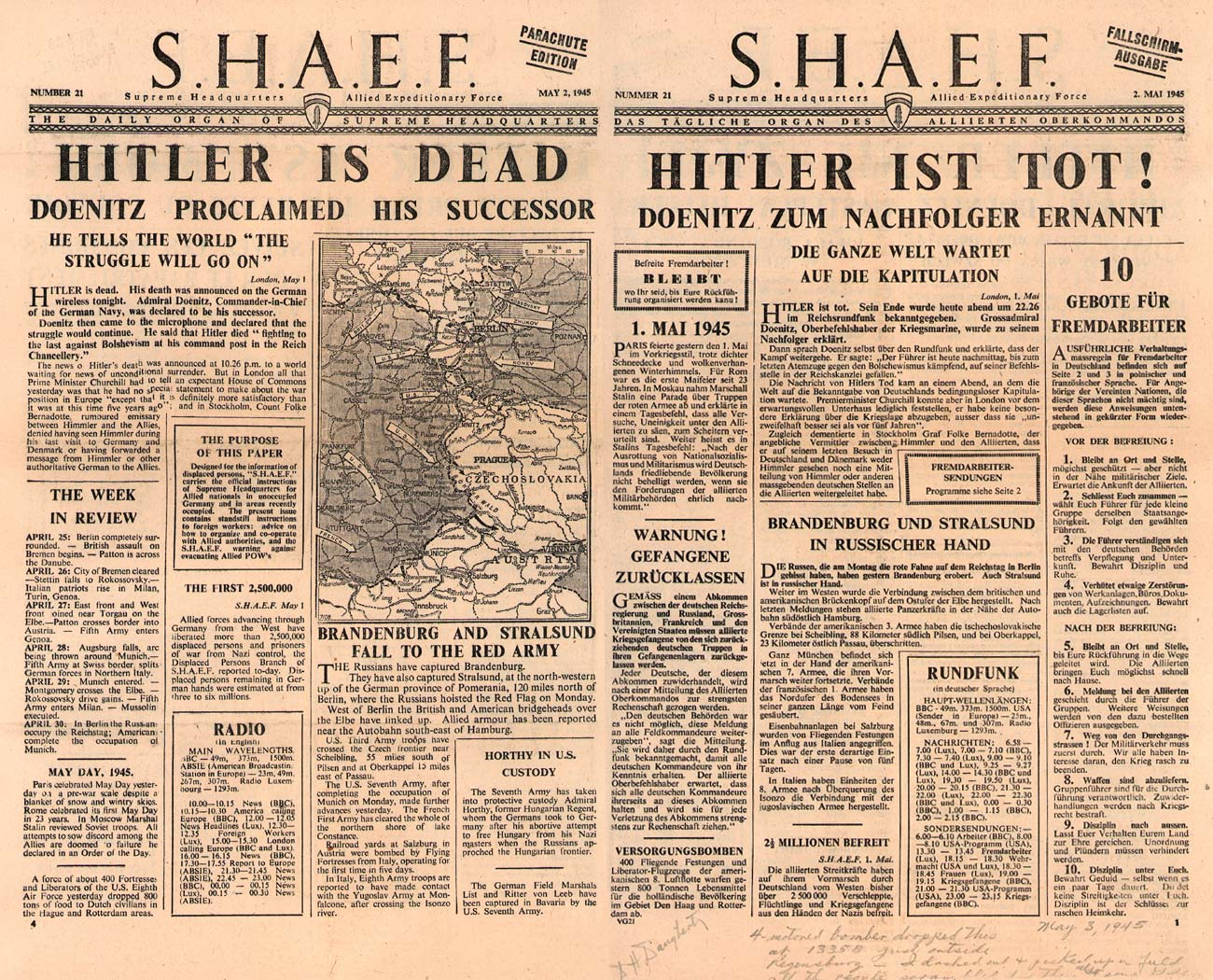 Random PSYOP leaflet - S.H.A.E.F. Newspaper, No. 21, 2 May 1945 - HITLER IS DEAD
