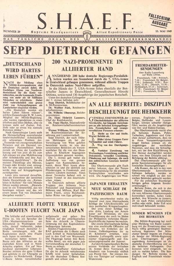 Random PSYOP leaflet - S.H.A.E.F. Newspaper, No. 29, 13 May 1945 - 7TH ARMY BAGS 200 BIG NAZIS