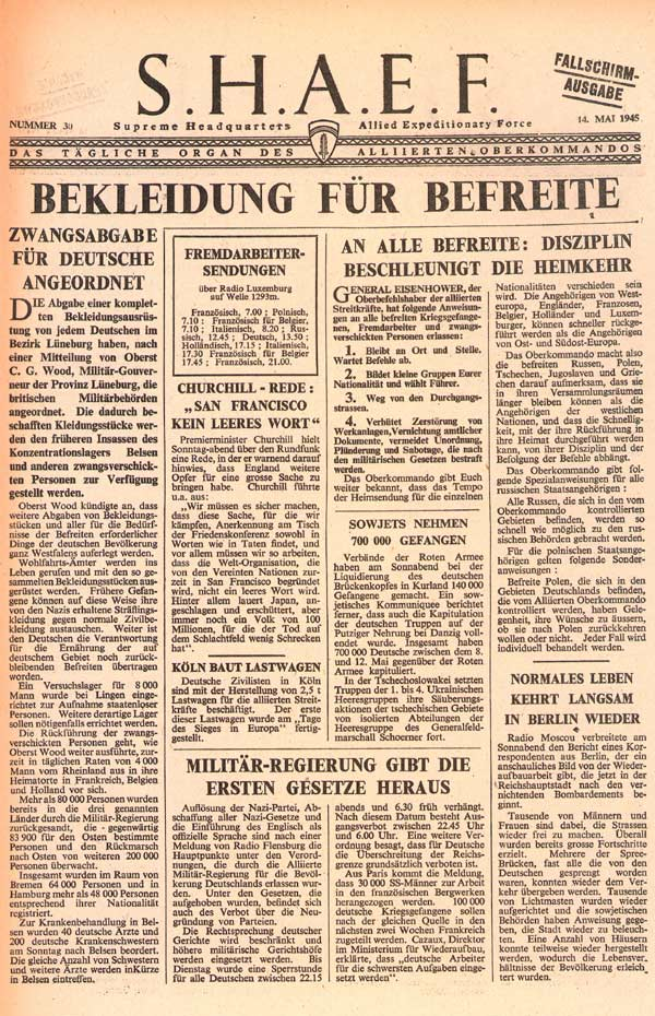 Random PSYOP leaflet - S.H.A.E.F. Newspaper, No. 30, 14 May 1945 - GERMANS MUST CLOTHE FREED