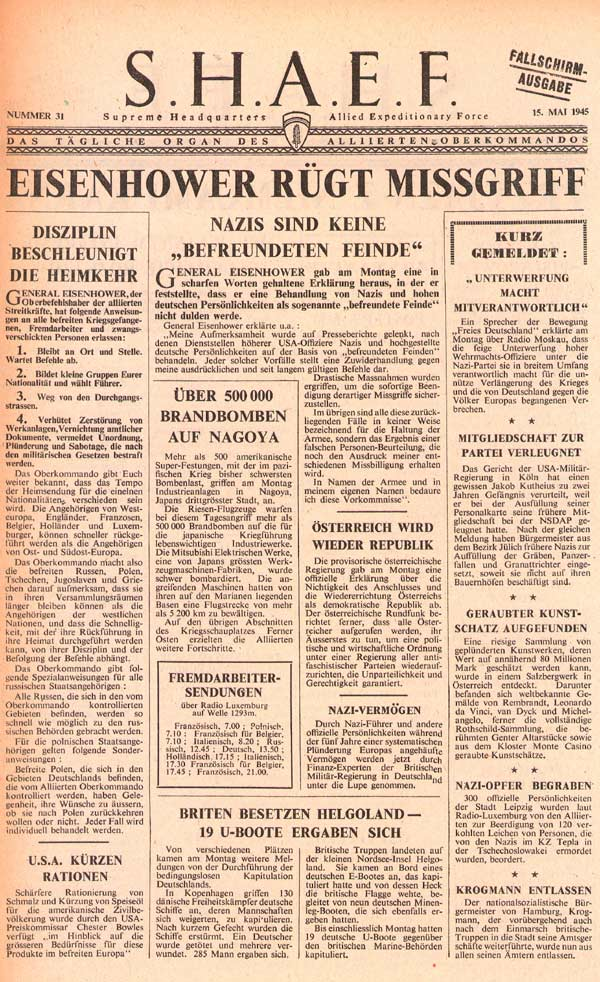 Random PSYOP leaflet - S.H.A.E.F. Newspaper, No. 31, 15 May 1945 - NAZIS NOT