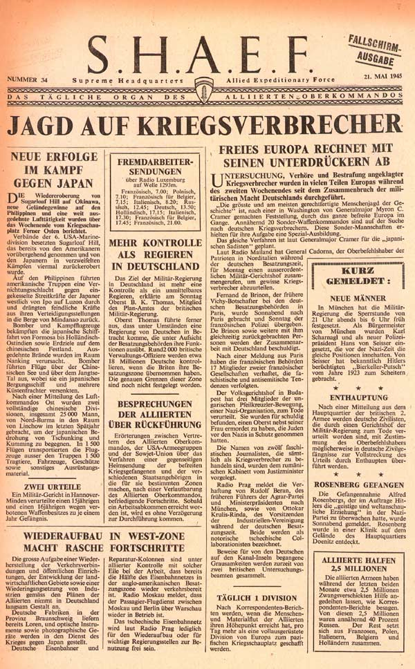 Random PSYOP leaflet - S.H.A.E.F. Newspaper, No. 34, 21 May 1945 - ARMY HUNTS WAR CRIMINALS