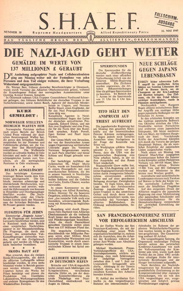 Random PSYOP leaflet - S.H.A.E.F. Newspaper, No. 35, 22 May 1945 - NAZIS ROUND-UP CONTINUES