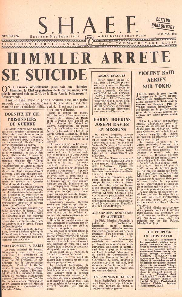 Random PSYOP leaflet - S.H.A.E.F. Newspaper, No. 36, 25 May 1945 - HIMMLER COMMITS SUICIDE
