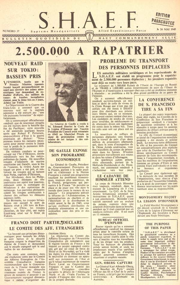 Random PSYOP leaflet - S.H.A.E.F. Newspaper, No. 37, 26 May 1945 - IT WON'T BE LONG NOW