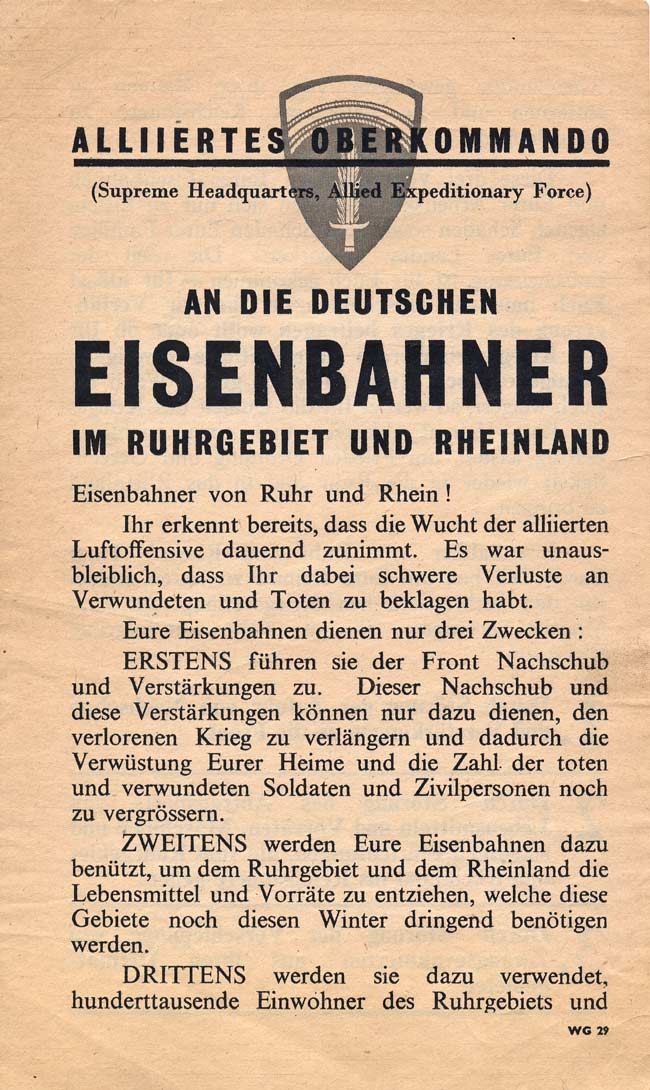 Random PSYOP leaflet - Railway Workers of Ruhr and Rhine