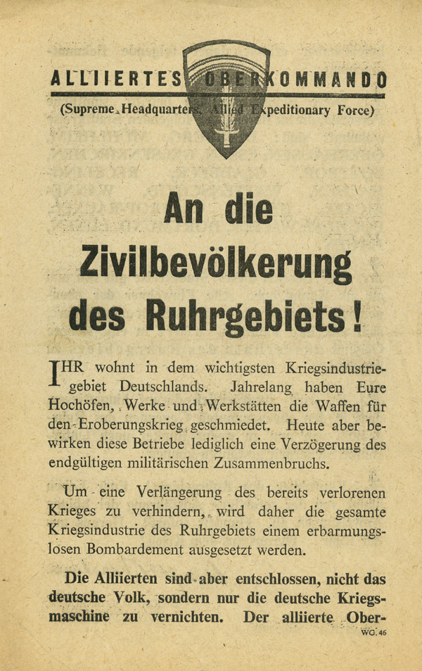 Random PSYOP leaflet - To Civilians of the Ruhr