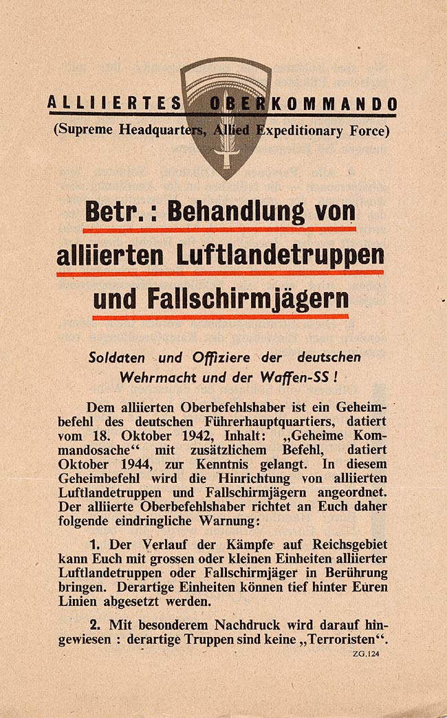 Random PSYOP leaflet - Treatment of Allied Airborne and Parachutist Troops
