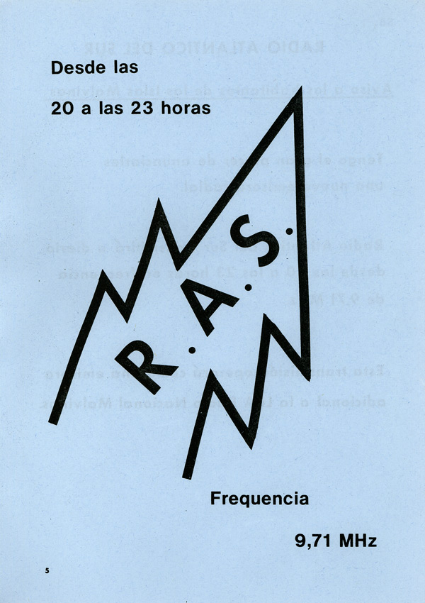 Leaflet promoting Radio Atlantico del Sur, intended to be air dropped over Argentine troops on the Falkland Islands