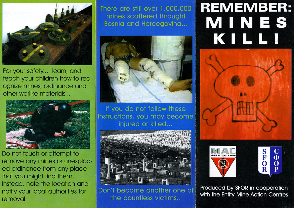Random PSYOP leaflet - RECOMMENDATIONS TO AVOID MINES AND UNEXPLODED MUNITIONS