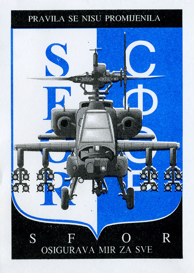 Random PSYOP leaflet - SFOR bringing about cooperation and providing peace for all