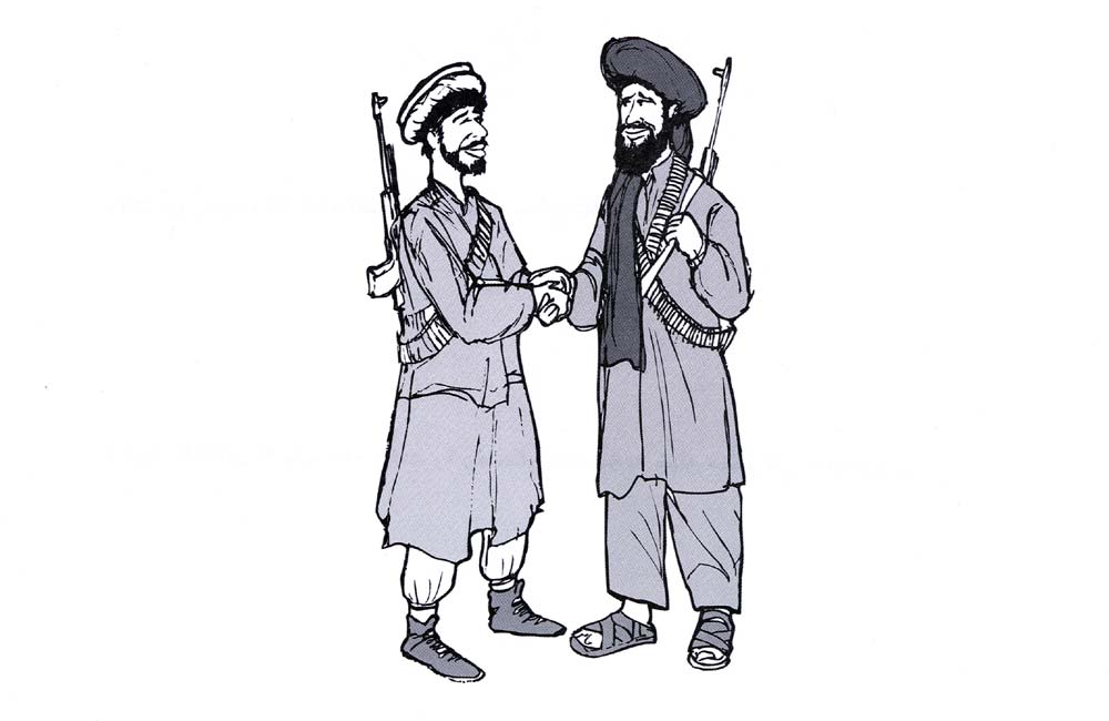 Random PSYOP leaflet - Osama bin Laden and his foreign henchmen... (Two Afghanis shaking hands)