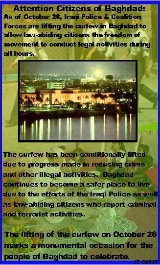 Random PSYOP leaflet - As of October 26, Iraqi Police & Coalition Forces are lifting the curfew…