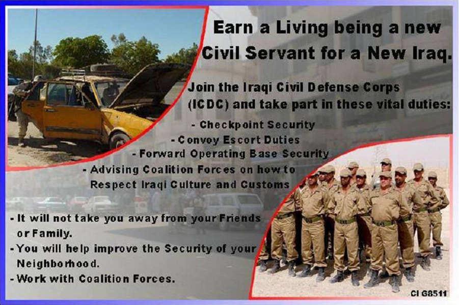 Random PSYOP leaflet - To take part in the Iraqi Civil Defense Corps (ICDC)…