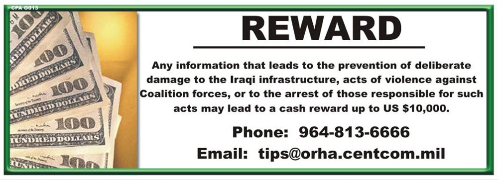 Random PSYOP leaflet - REWARD. Any information that leads to the prevention of deliberate damage…