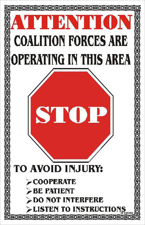 Random PSYOP leaflet - ATTENTION COALITION FORCES ARE OPERATING IN THIS AREA