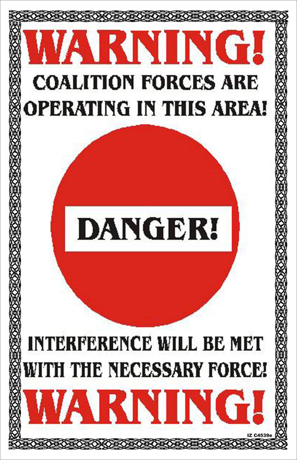Random PSYOP leaflet - WARNING! COALITION FORCES ARE OPERATING IN THIS AREA!